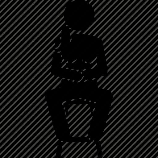 chair, lady, sit, sitting, woman icon