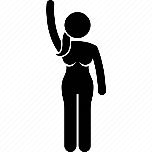 hand, raising, volunteer, woman icon