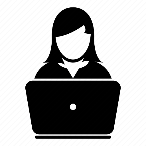 business, computer, female, internet, laptop, network, user icon
