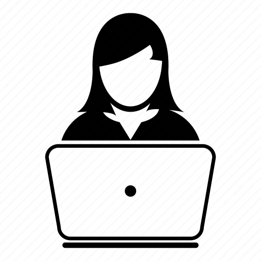 admin, business, computer, laptop, user, woman icon