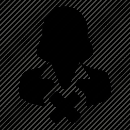 account, avatar, delete, profile, remove, user, woman icon