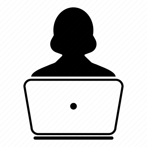 avatar, client, computer, customer, female, laptop, woman icon