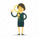 find, magnifier, search, woman, zoom icon