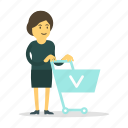cart, shopping, store, woman icon