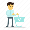 cart, man, shopping, store icon