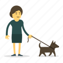 dog, pet, walk, woman icon