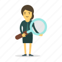 female, find, magnifier, search, woman icon