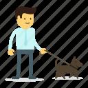 dog, man, pet, walk icon