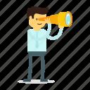 man, search, spyglass icon