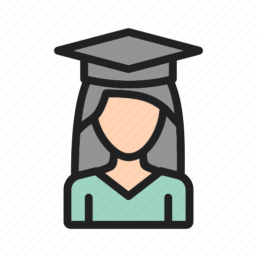 gown, graduation, happy, high, lady, students, success icon