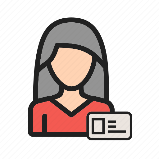 business, card, employee, female, id, profile, woman icon