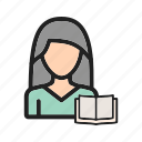 book, lifestyle, newspaper, reading, sitting, student, woman icon