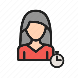business, management, office, professional, time, woman, work icon