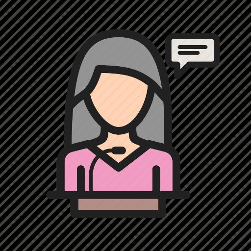 conference, event, presentation, public, speaker, speech, woman icon