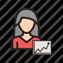 bar, business, data, graph, growth, marketing, women icon