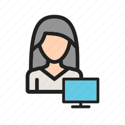 business, businesswoman, career, computer, corporate, job, office icon