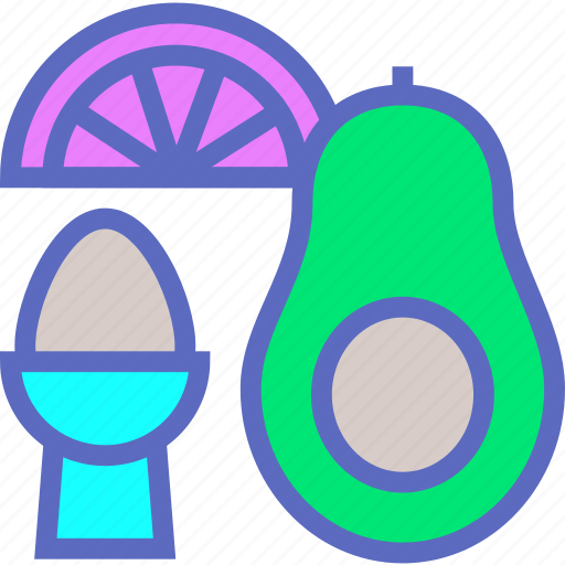 Food, avocado, breakfast, diet, egg, grapefruit, healthy food icon - Download on Iconfinder