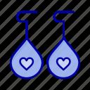 earing, heart, love icon