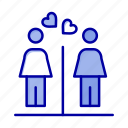 couple, love, signs, washroom icon