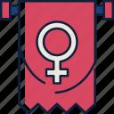 banner, female, female symbol, flag, woman, womens day, girl