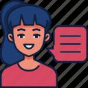 woman, woman talking, communication, female speaking, story telling, girl, female icon