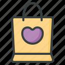 shopping, bag, love, gift, present, buy, heart