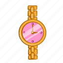 accessories, clock, fashion, golden, lady, time, watch icon
