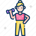 sport, sporty, weight, woman, exercise icon