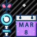 calendar, female, march, womens day icon
