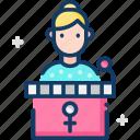 conference, feminism, podium, presentation, womens day icon