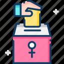 female, feminism, venus, vote, woman suffrage icon