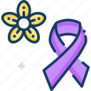 awareness, feminism, purple ribbon, ribbon, signs icon