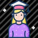 education, female, graduate, woman icon