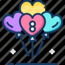 balloons, female, gender, women, womens day icon