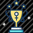 achievement, award, champion, trophy, woman icon