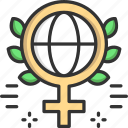 femenine, feminism, globe, venus, womens day icon