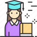 education, girl, graduate, mortarboard, woman icon