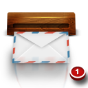 email, mail, wooden icon