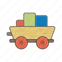 carriage, coal cart, railway, train, trolley, vehicle, wood icon