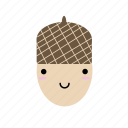 acorn, cute, forest, happy, kawaii, seed, woodland icon