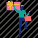 bag, giftcard, man, shopping, smartphone icon