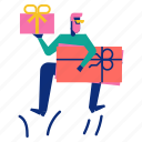 gift, happy, jump, man, shopping icon