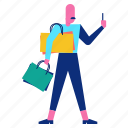 bag, customer, man, shopping, smartphone icon