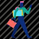 customer, feedback, man, ok, reccommend, shopping, walk icon
