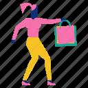 bag, character, give, shopping, woman icon