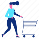 cart, discount, empty, shopping, woman icon