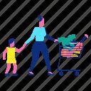 cart, family, kid, shopping, woman icon