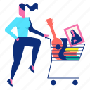cart, decoration, happy, shopping, woman icon
