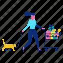 cart, cat, pet, shopping, woman icon