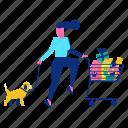 cart, dog, pet, shopping, woman icon